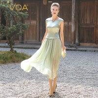 VOA плюс размер elbise жоржет, шелк длинное платье для женщин сладкий мятный зеленый Туника летние платья короткий рукав повседневное vestido A5716
