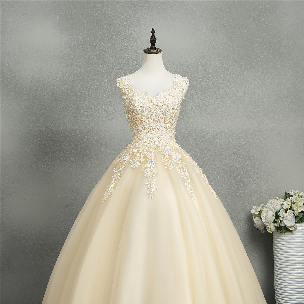 Image 4 - ZJ8076 Ball Gowns Sweetheart White Ivory Tulle Champagne Wedding Dresses 2019 with Pearls Bridal Dress Plus Size 2 26W-in Wedding Dresses from Weddings & Events