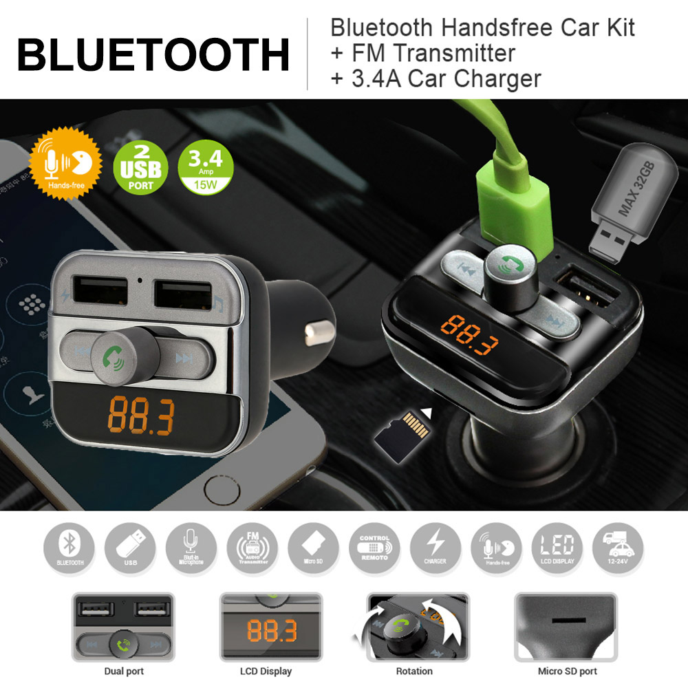 BT FM Transmitter Handsfree Phone Calling Car Kit MP3 Player with TF Card Slot Dual USB Port Car Charger for iPad iOS