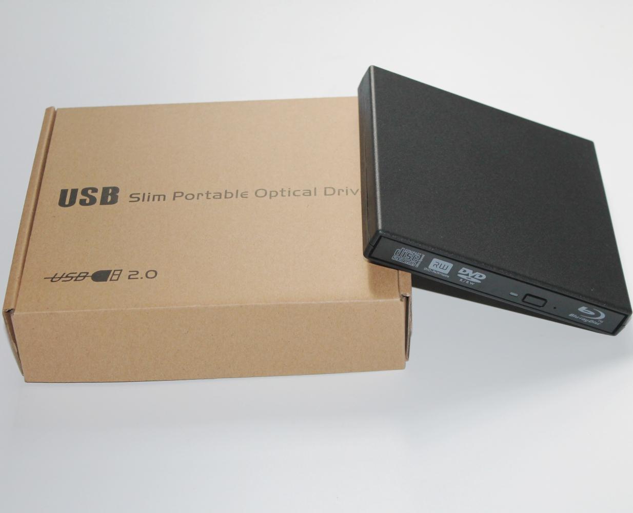 Black slim USB 2.0 External BD <font><b>Blu</b></font> <font><b>Ray</b></font> DVD RW DVD DL CD RW Drive Writer Burner For WINDOWS XP/7/8/10 Mac Desktop Laptop
