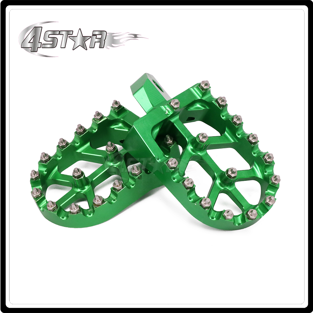 CNC Green Motorcycle Foot Pegs Pedals Rests For KAWASAKI