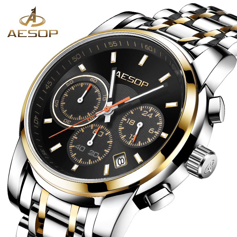 AESOP Men Watch Quartz Men Wrist Wristwatch Stainless Steel Brand Black Male Clock Waterproof Calendar Relogio Masculino Box 27 stylish 8 led blue light digit stainless steel bracelet wrist watch black 1 cr2016