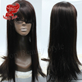 2016 new brown color natural silk straight wigs glueless bangs hair heat resistant synthetic lace front wigs for women