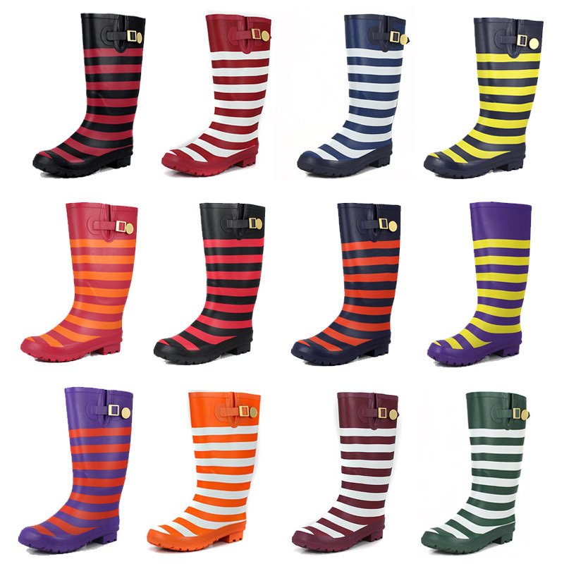 Striped rain boots waterproof women's fashion boots Miss Gao Tong ...