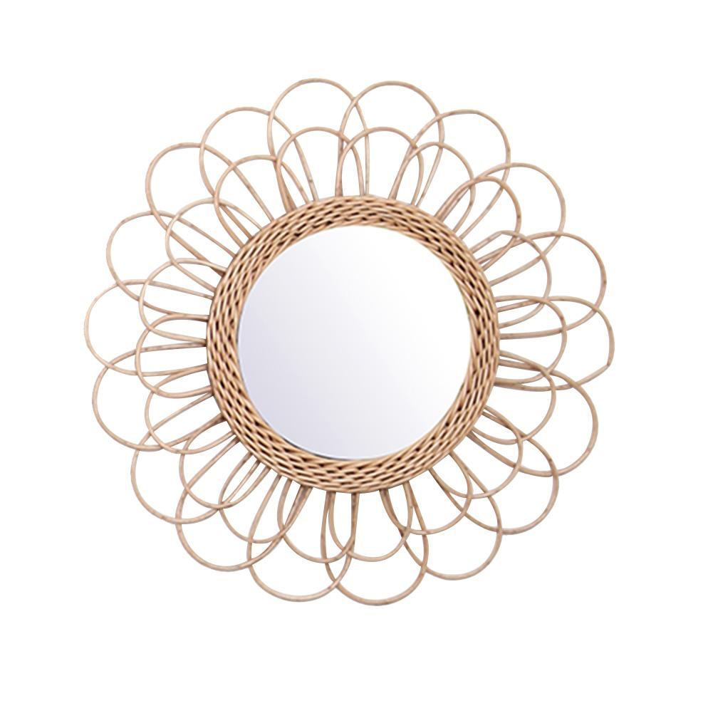 Rattan Flower Shape Dressing Mirror Innovative Art Decor Round Wall Mount Mirror for Living Room Bathroom Home Decorations 20E|Decorative Mirrors| |  - title=