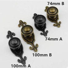 Vintage distress rustico retro furniture handle bronze drawer cabinet knob pull knobwith plate black antique iron