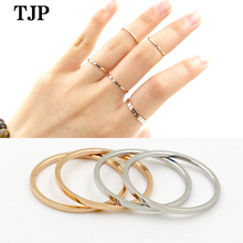 2019 fashion simple fine version of the two joints smooth ring female index finger tail ring titanium steel men and women ring vintage cross decorated index finger women men s ring