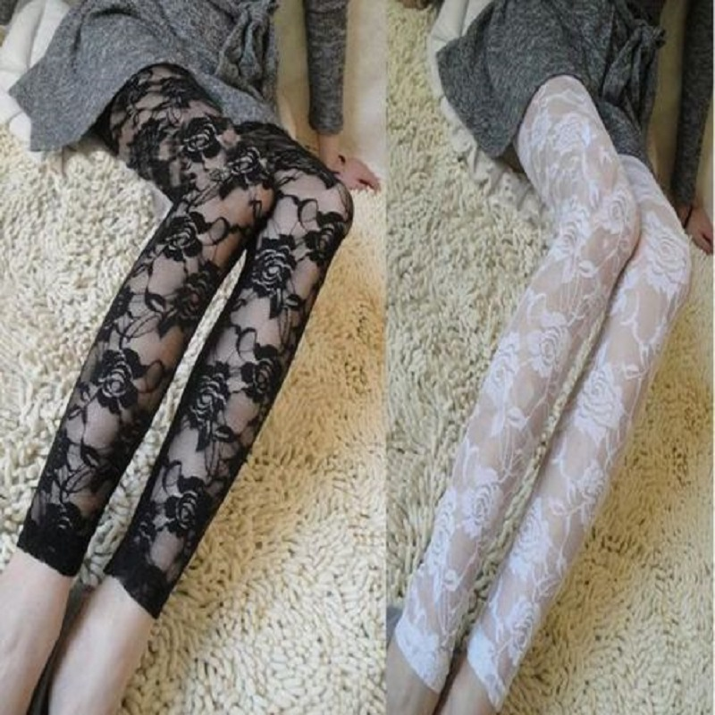 Fashion Sexy Women Stretch Skinny Slim Pants Trousers White Black Lace Floral   Leggings   Cotton   Leggings