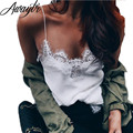 Awaytr 2017 New Summer Sexy Deep V-Neck Halter Top Crochet Women Sleeveless Lace Crochet Hollow Vest White Lace Tank Tops