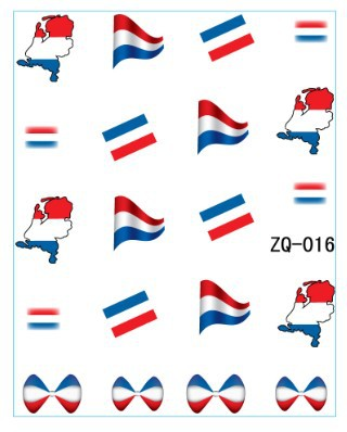 Hotsale 20sheet lot netherlands flag world cup water decal nail art accessories football serie nail