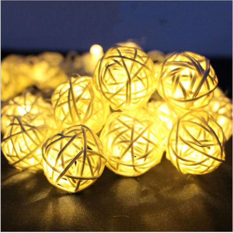 4M 20 LED EU/US Warm White Rattan Ball LED String Lighting Holiday Christmas Wedding Party Curtain Decoration Lights Drop