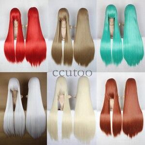 Синтетические волосы ccutoo Shana, бордовые, 100 см, прямые, длинные, для косплея, высокотемпературное волокно, Термостойкое волокно
