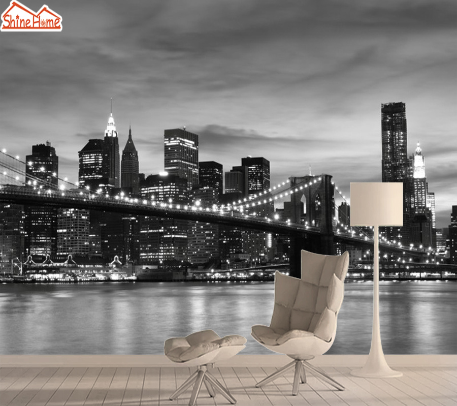 3d Photo Mural Wallpaper 3d Wall Paper Papers Home Decor Wallpapers For Walls In Rolls Living Room Black White New York City Art