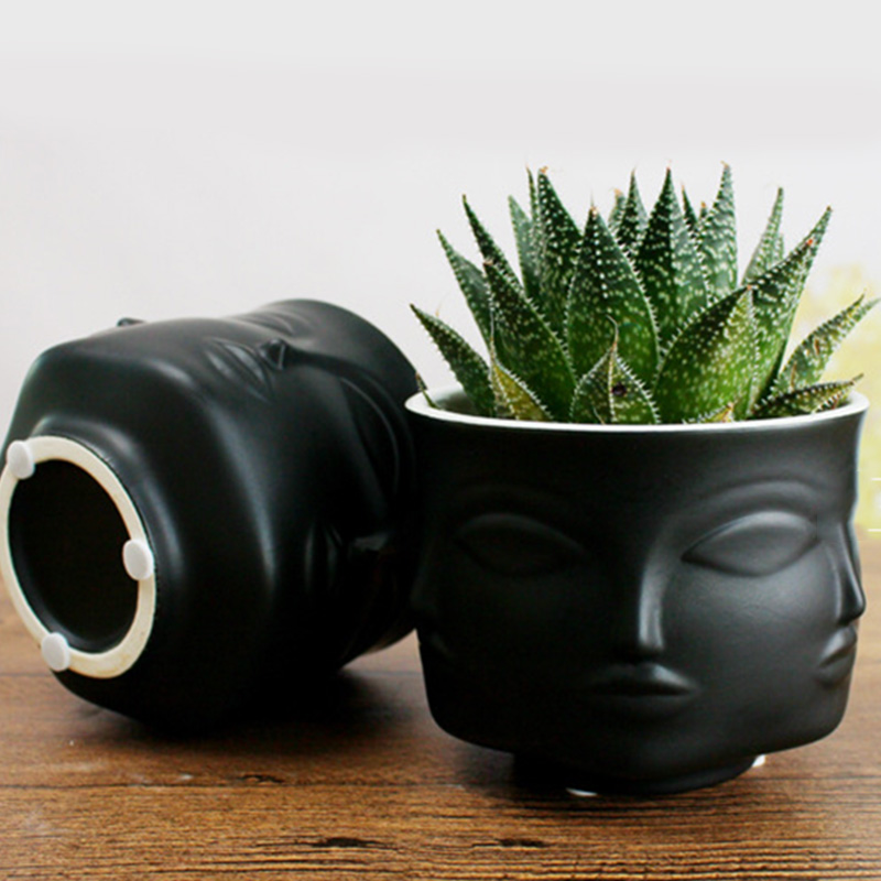 Nordic Potted Plants Flower Pot Man Face Flower Vase Home Decoration Accessories Ceramic Vase For Flower Succulents Pot Planters