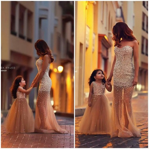 Gorgeous 2014 Cute Mother and Daughter Gold Tulles Princess Flower Girls' Dresses With Pearls Floor Length Girl's Pageant Dress