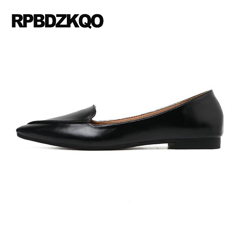 Dames chinois 2017 femmes noir bureau appartements pas cher chaussures chine travail marron bout pointu sans lacet conduite belle dernière mode - 2