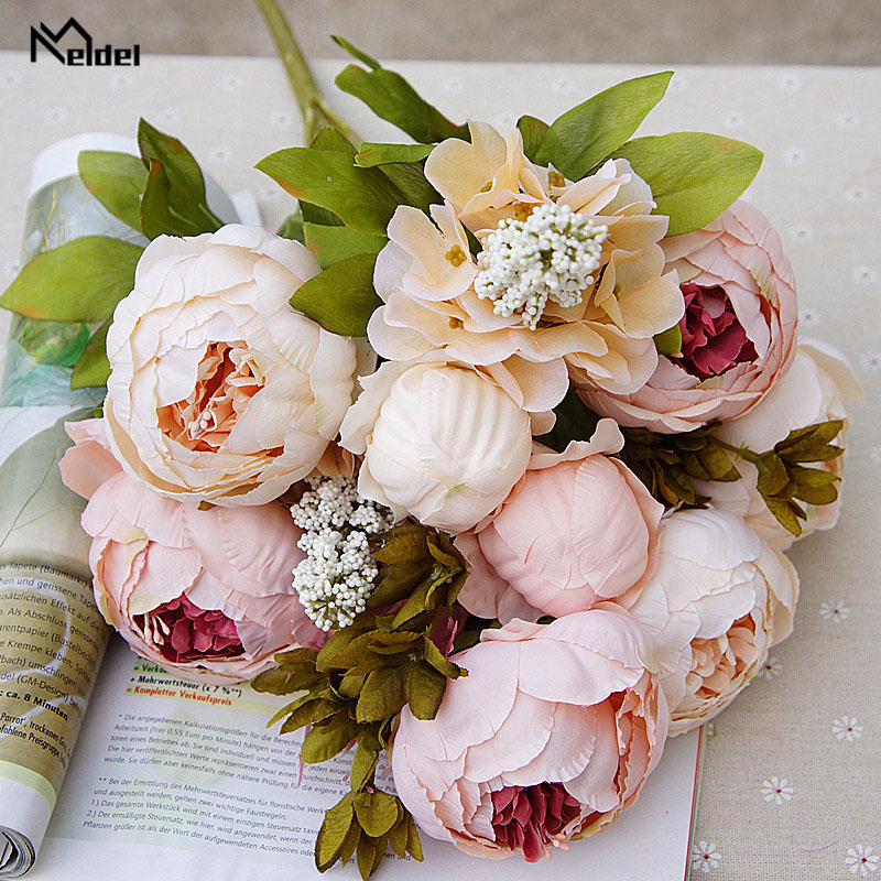 Meldel Bride Wedding Bouquet Artificial Silk Rose Peony Flower DIY Home Prom Party Decorations Wedding Table Center Accessories