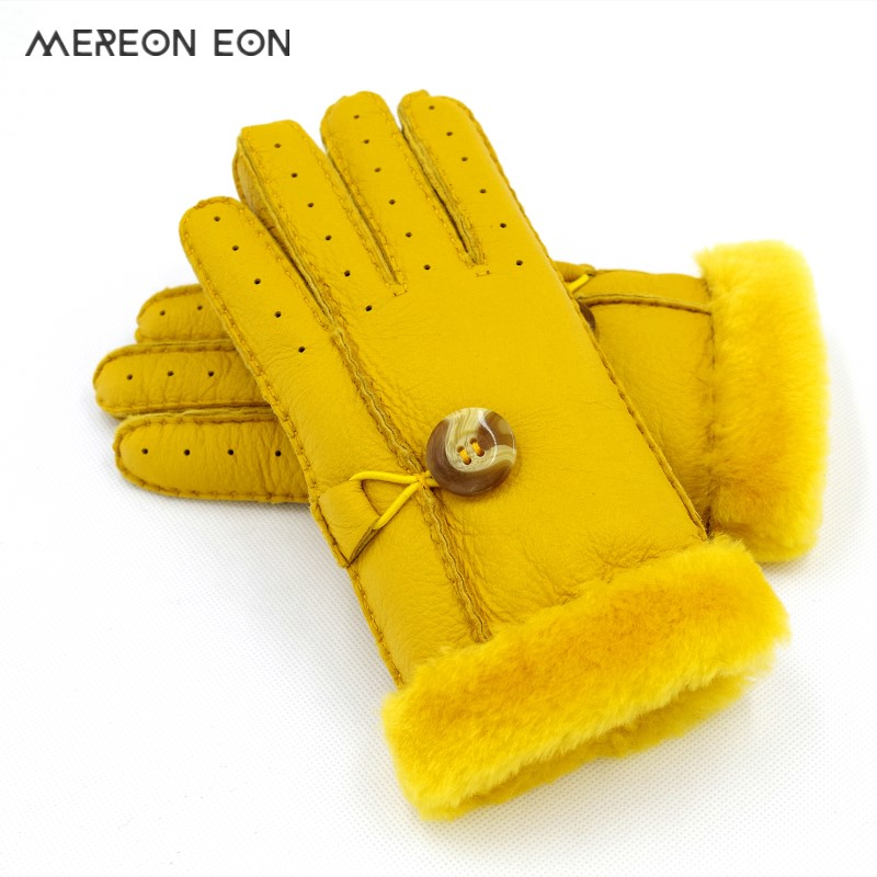 2019 Winter Ladies Insulation Warm Natural Sheepskin Gloves Fashion Fur Gloves Lining Wool Soft Ladies Gloves Multi-color Choice