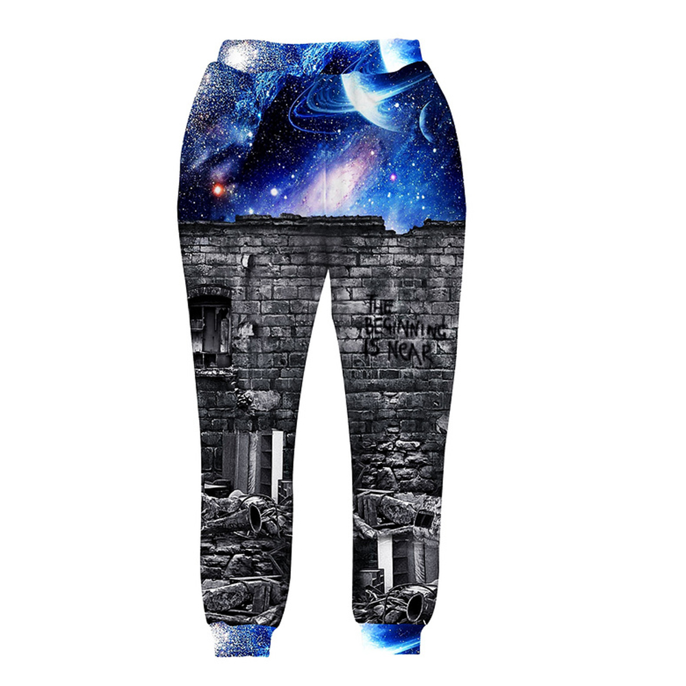 2017 New fashion Fall Men/womens 3d Harem pant 3d print A person watching space Meteor shower galaxy joggers trousers