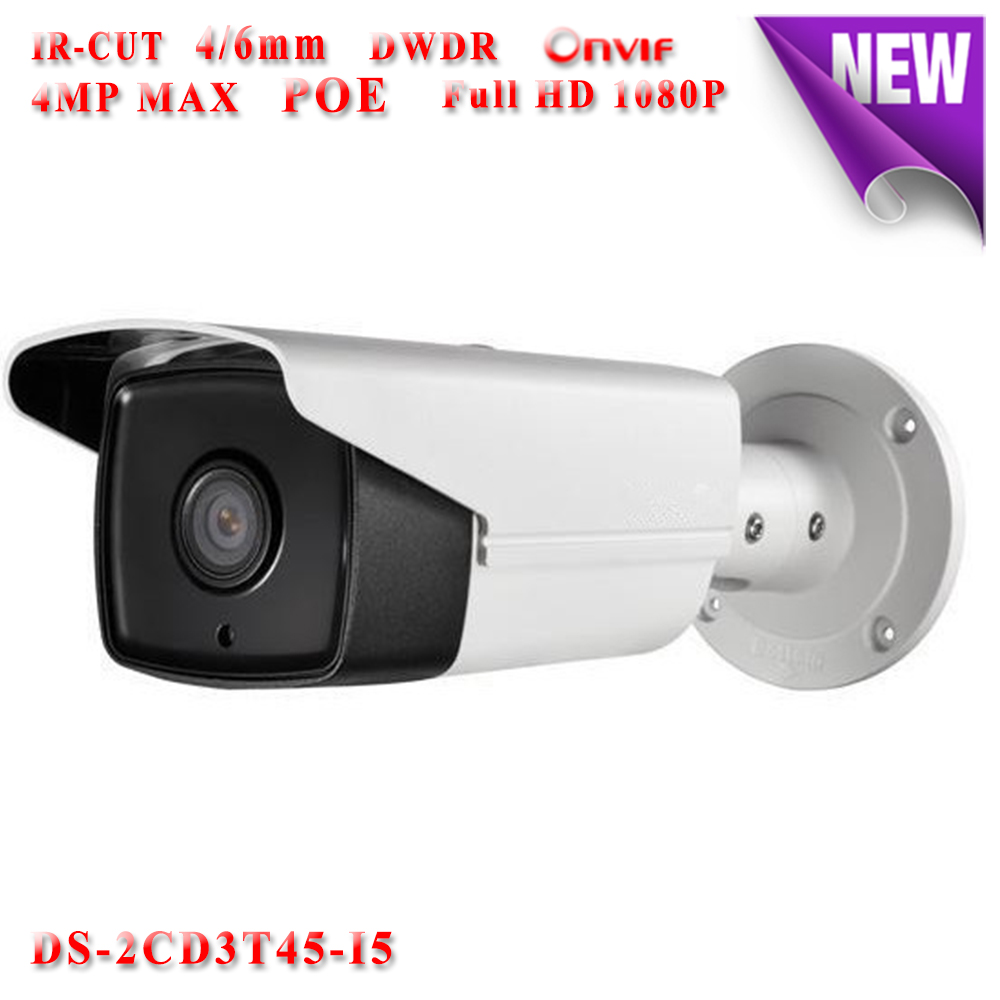 Hikvision CCTV camera security 3D DNR DS-2CD3T45-I5 Network IP camera POE 4MP Bullet waterproof IP66 outdoor 50M IR night vision wistino cctv camera metal housing outdoor use waterproof bullet casing for ip camera hot sale white color cover case