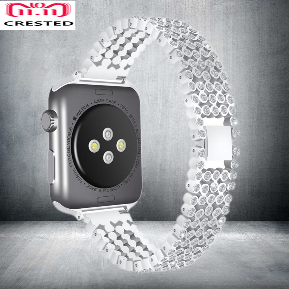 CRESTED Diamant Strap Für Apple Uhr band serie 4 44mm 40mm Luxus Stilvolle Kristall iWatch 3 2 1 42mm/38mm armband armband