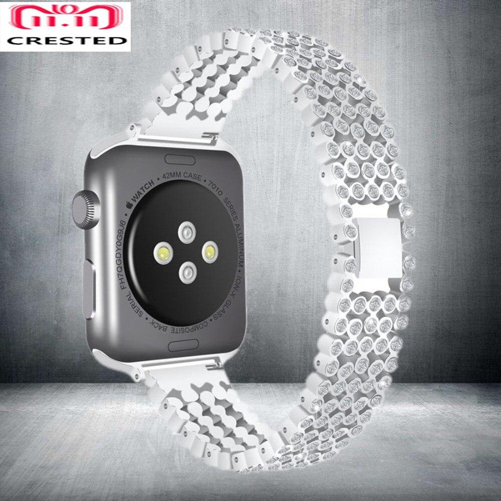 Correa de diamante CRESTED para Apple Watch band series 4 44mm 40mm lujo elegante cristal iWatch 3 2 1 42mm/38mm pulsera de pulsera