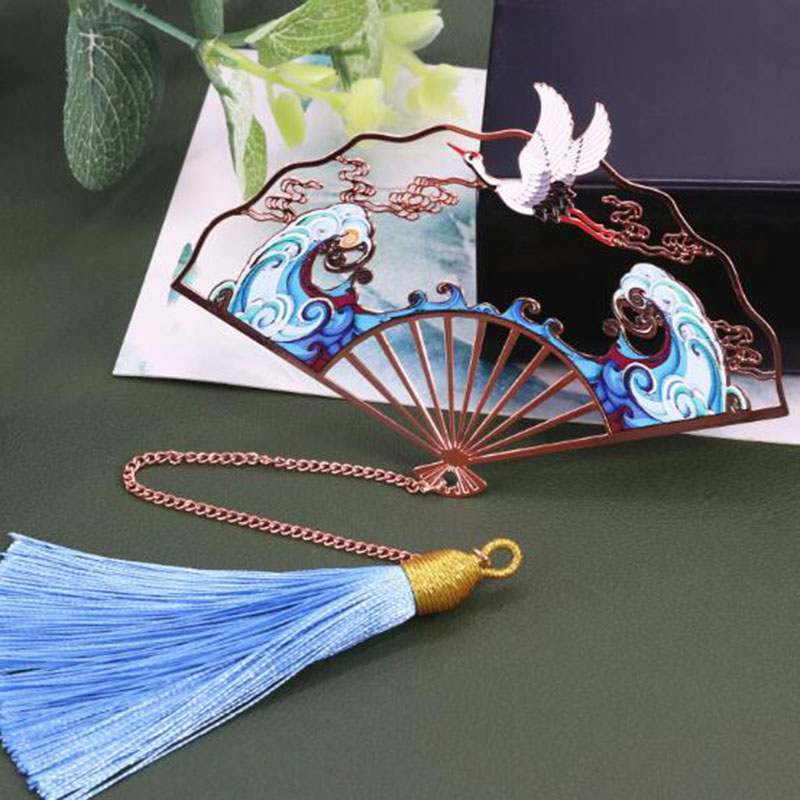 Folding Fan Metal Bookmark Classical Tassels Creative Rose Gold Fan Creative Art Bookmarks Gift Box Packaging