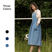2019 New Fashion Women's Plus Size denim apron coffee flower shop work aprons Bib kitchen apron for chef Overall Dress