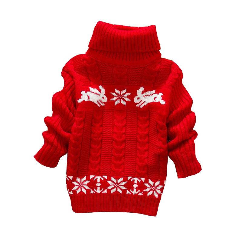 Baby Girls Boys Sweater Autumn Winter Sweater Rabbit Pullover Sweater Christmas Warm Turtleneck Cartoon Clothing Sweater
