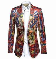 Luxury Blazer Men 2016 Brand Chinese Dragon Digital Print Suit Jacket Men Casual Slim Fit