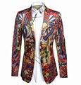 Chaqueta de Los Hombres 2016 de la Marca de lujo Chino Dragón Impresión Digital Traje chaqueta de Los Hombres Casual Slim Fit Hombres Trajes de Vestir Chaqueta Homme XXXL