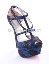 Women Blue Dress Shoes Red Open Peep Toe T Strap Summer Sandals Printing Thin High Heel Women's Dress Shoes Designer Shoes 2014
