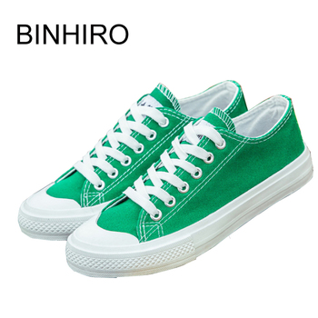 BINHIIRO Men's Vulcanize Shoes Canvas Fashion Lace-up Solid Lovers Shoes Rubber Flat Sneakers Spring Casual Male Shoes 2019