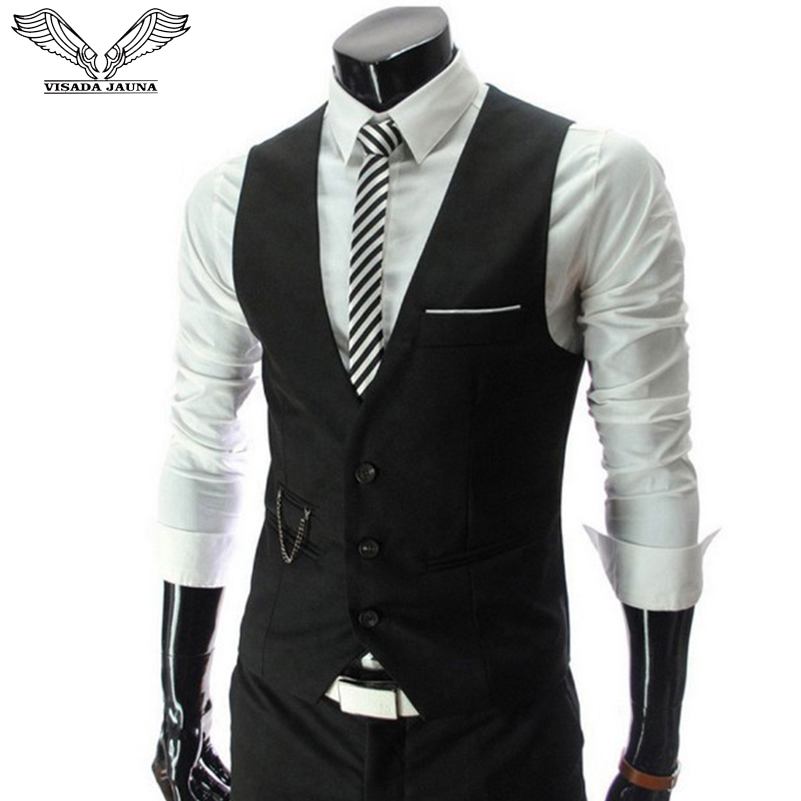 VISADA JAUNA 2019 Men's Business Vest Slim Fit Solid Color Design Dress Suits Waistcoat Sleeveless Formal Big Size 5XL N5074