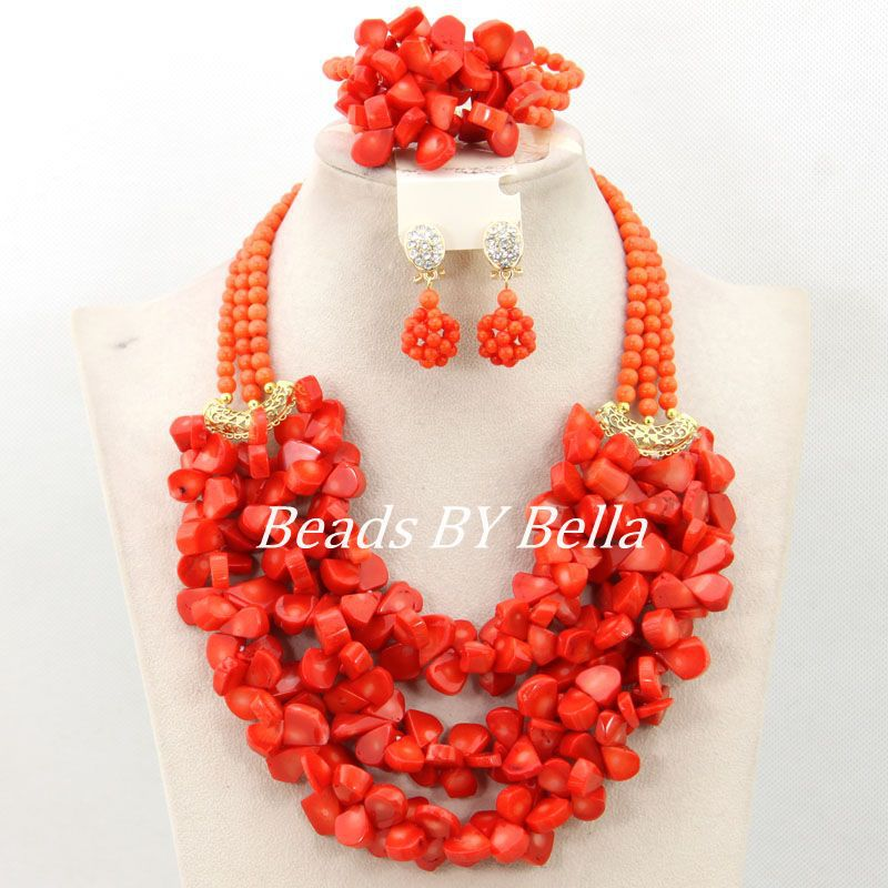 Latest New Coral Beads Necklace Women Costume Jewelry Set Indian ...