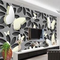 Custom Wallpaper Murals 3D Stereoscopic Butterfly Flowers Wall Mural Modern Abstract Art Wallpaper Wall Covering Living Room TV