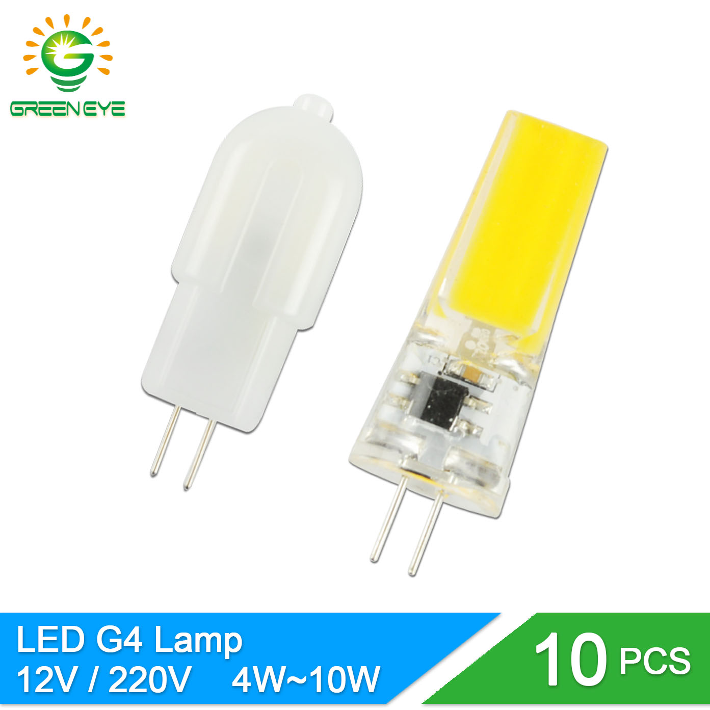 GreenEye 10Pcs Mini G4 LED Lamp AC220V / ACDC12V SMD2835 4W 6W 10W Dimmable Ampoule Lampada LED G4 Bulb Replace Halogen Crystal