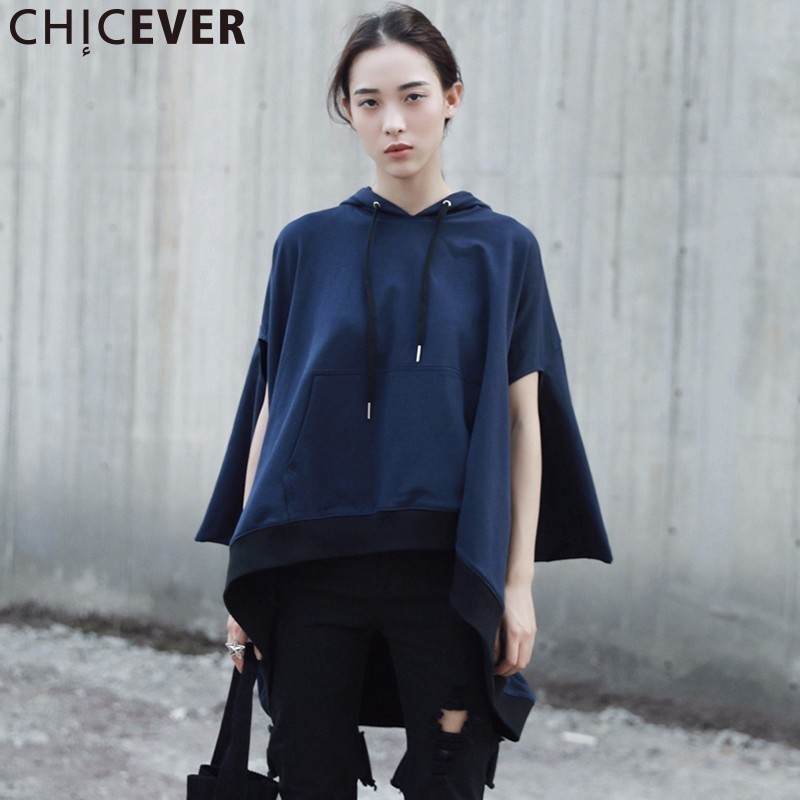 CHICEVER Hoodies Sleeveless Autumn Female Sweatshirt For Women Top Pullovers Loose Big Size Irregular Sweatshirts Clothes 2017