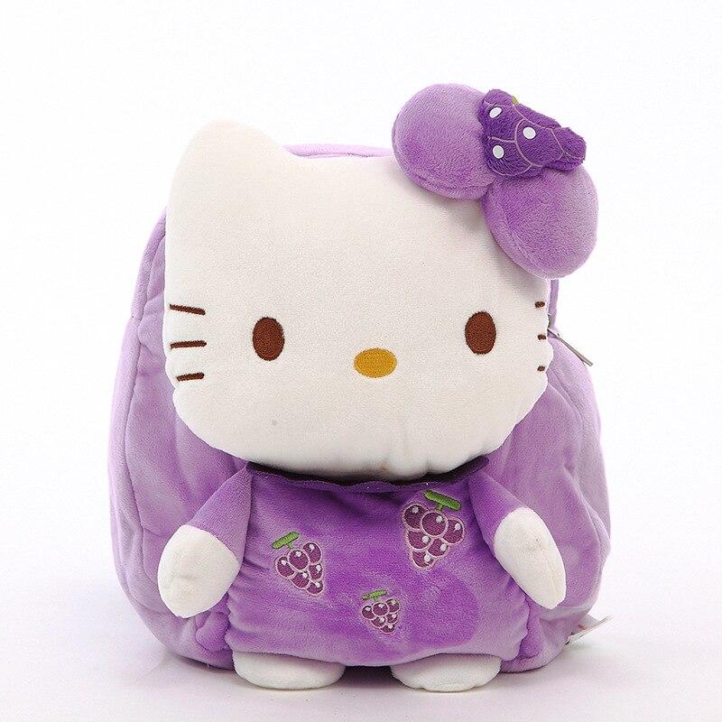 29cm Kawaii Fruits Hello Kitty Plush font b Toy b font Children Backpack Kids Bag For