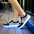 D-BuLun Luminous LED Shoes For Adults LED Lights Up USB Charging Schuhe Casual Fashion Women Unisex LED Light Shoes WXD004