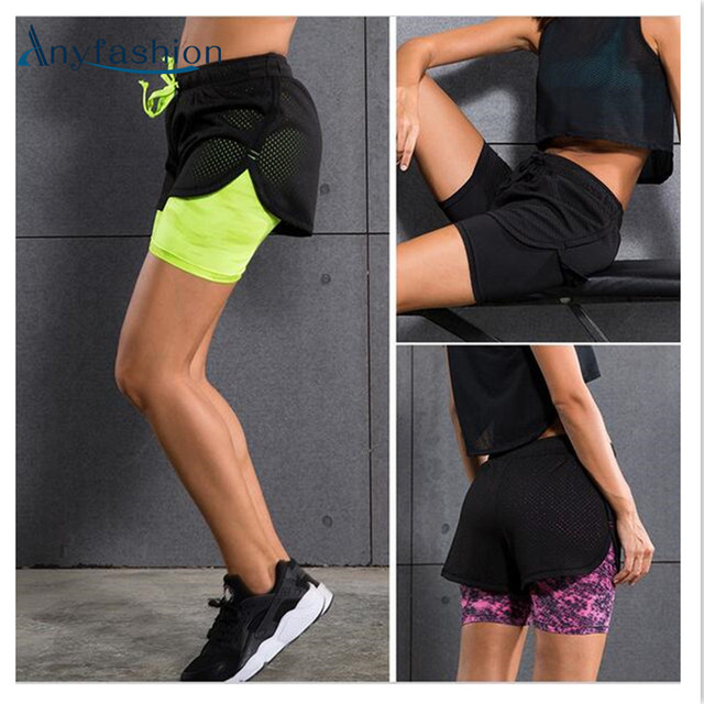 Women Shorts 2 in 1 Anti-bacterial Breathable Summer Ladies Shorts Outdoors Fitness Shorts Exercise Bodybuilding Sportswear