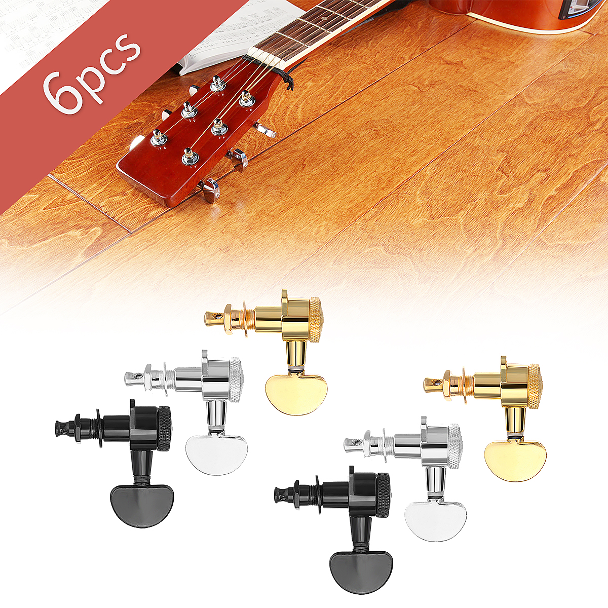 6pcs 3r 3l guitar tuners machine auto locking tuners guitar tuning pegs black gold siliver for. Black Bedroom Furniture Sets. Home Design Ideas