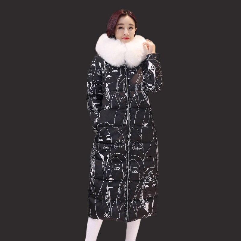 Fashion coat female in the long code coat new women winter jacket 2017parkas thickening printing winter coats big code knee 2017 korean version of the thickening of female workers in the long coat lambskin coat winter coat large size coat