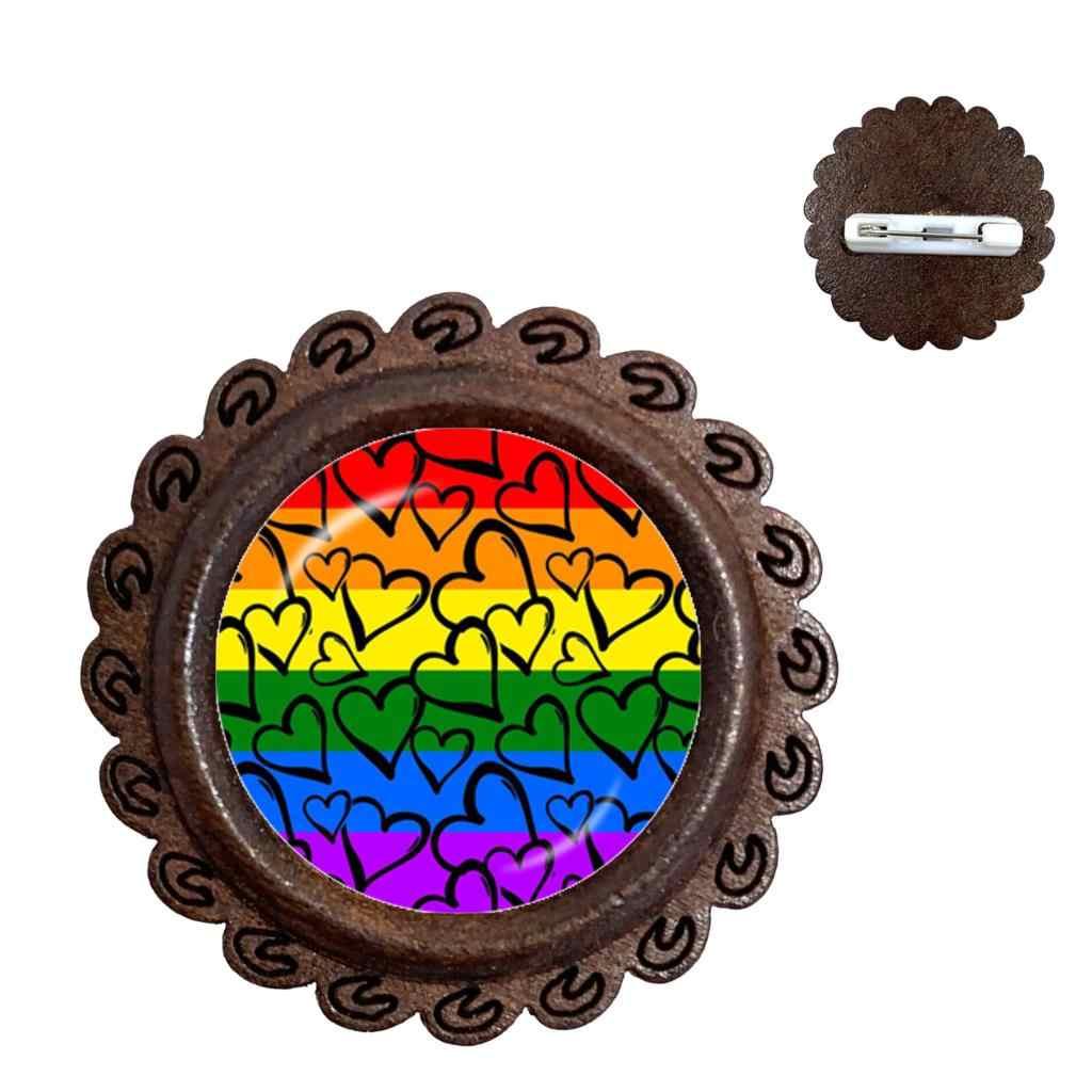 Gay Pride Regenboog Hout Broche Lesbische LGBT 20mm Glazen Koepel Cabochon Kraag Pinnen Sieraden Voor Vrouwen Mannen Gift
