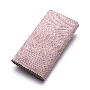 Image 3 - Роскошный брендовый Женский кошелек из натуральной кожи, дамские сумочки, розовый кошелек с тиснением под змеиную кожу, дизайнерская длинная сумочка на защелке для мобильного телефона, держатель для карт
