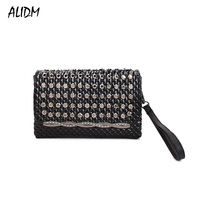 ALIDM High quality fashion ladies shoulder bag rivet mosaic black nail pattern ladies bag diamond leather PU leather ladies bag