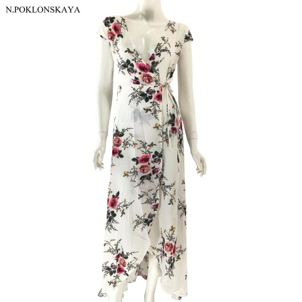 New Boho style long dress women Floral print v neck split beach summer dress Sexy chiffon white maxi dress vestidos de festa DQ8