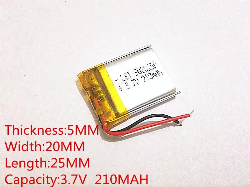 Meilleur batterie marque Taille 502025 3.7 V 210 mah Lithium polymère Batterie avec le Conseil de La Protection Pour MP3 MP4 MP5 GPS Produits Numériques Fr