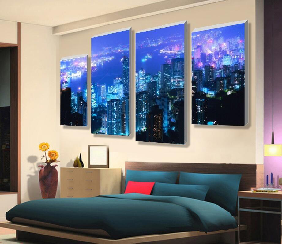 4 Piece NO Framed Canvas Photo Prints Night View Of Urban posters & prints Paintings Wall Art Canvas Paintings Home Decor