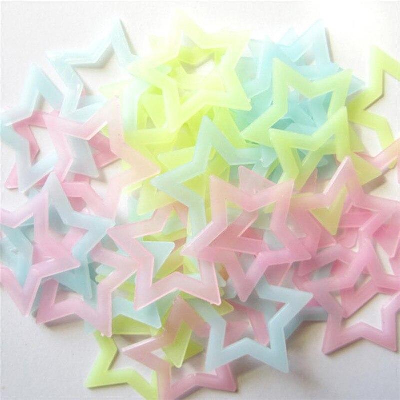 40PCS Mixing Kids Bedroom Fluorescent Glow Dark Stars Wall Stickers  Luminous Star Stickers Plastic Photo Wall